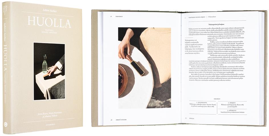 Kansi ja aukeama kirjasta Arkivé Atelier – Huolla – Vaatteet, kengät, asusteet.