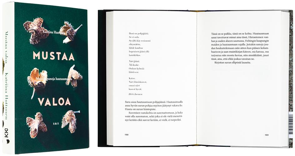 Kansi ja aukeama kirjasta Mustaa valoa – Muistiinpanoja hautausmaalta.