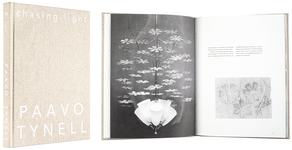 A cover and a spread of the book Chasing Light – The archival photographs and drawings of Paavo Tynell.