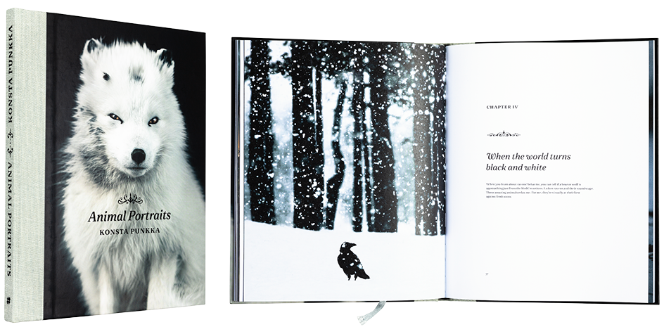 A cover and a spread of the book Animal Portraits.