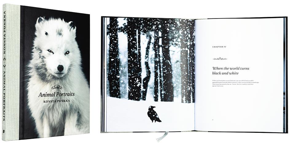 Kansi ja aukeama kirjasta Animal Portraits.