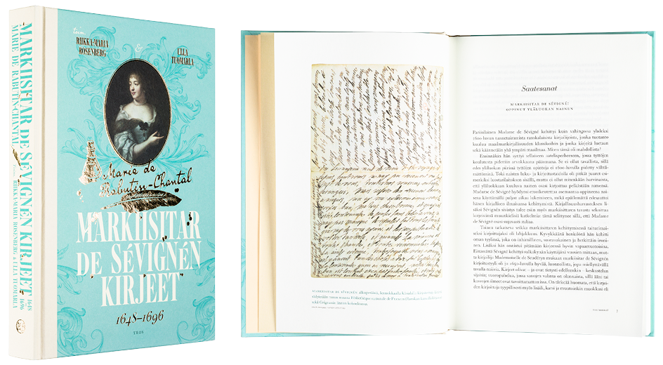 Kansi ja aukeama kirjasta Markiisitar de Sévignén kirjeet 1648–1696.