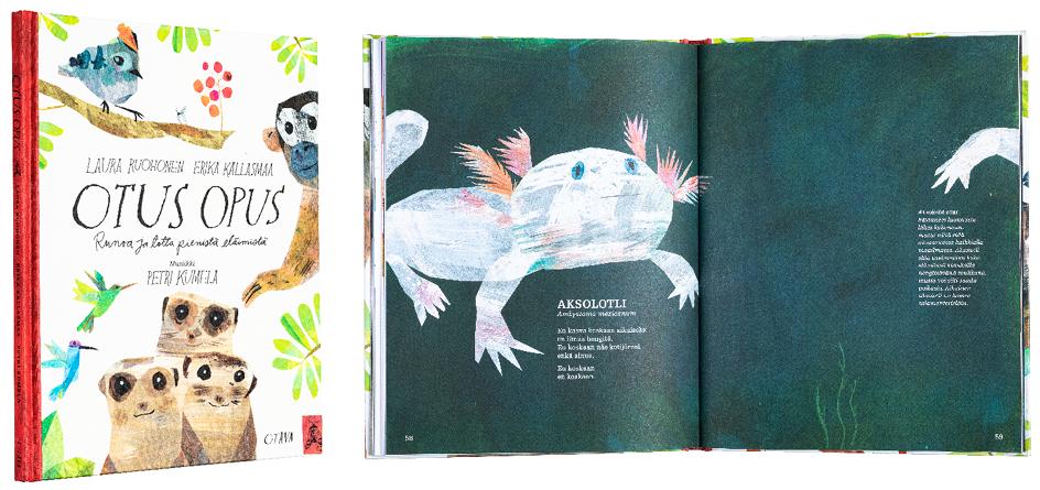 Kansi ja aukeama kirjasta Otus opus – Runoa ja totta pienistä eläimistä.