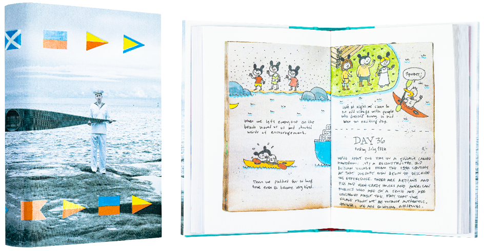 A cover and a spread of the book Russian Diaries.