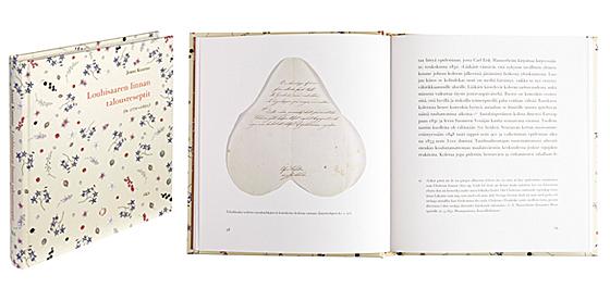 Kansi ja aukeama kirjasta Louhisaaren linnan talousreseptit (n. 1770-1850).