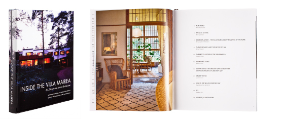 A cover and a spread of the book Inside the Villa Mairea -<br />