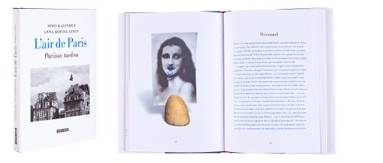 Kansi ja aukeama kirjasta Pariisin tuoksu - L'air de Paris.