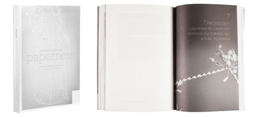 A cover and a spread of the book Paperness.