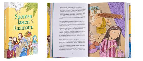 Kansi ja aukeama kirjasta Suomen lasten Raamattu.