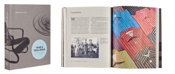 A cover and a spread of the book Taide & Teollisuus - Johdatus suomalaisen muotoilun historiaan.