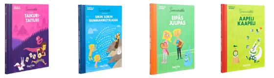 A cover and a spread of the book Taikuritaituri / Sikin sokin Summanmutikassa / Eipäs juupas / Aapeli Kaapeli.