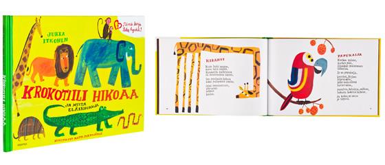 A cover and a spread of the book Krokotiili hikoaa.