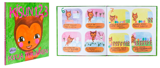 A cover and a spread of the book Kisun 1,2,3.