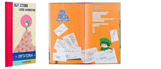 Ett omslag och en öppning av boken Diktatorn.