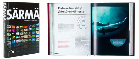 A cover and a spread of the book Särmä - Suomen kieli ja kirjallisuus.