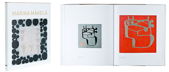 A cover and a spread of the book Marika Mäkelä.