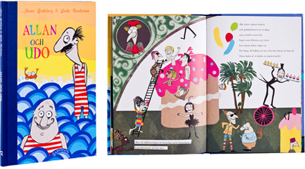 A cover and a spread of the book Allan och Udo.