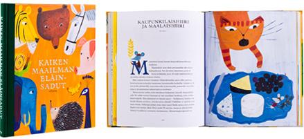 A cover and a spread of the book Kaiken maailman eläinsadut.