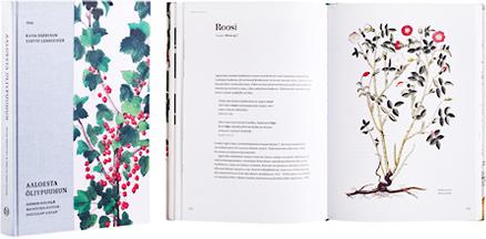 Ett omslag och en öppning av boken Aaloesta öljypuuhun - suomen kielellä mainittuja kasveja Agricolan aikaan.