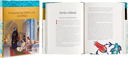 Ett omslag och en öppning av boken Tuhannen ja yhden yön erotiikka.