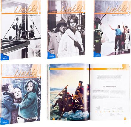 Ett omslag och en öppning av boken Linkki 1-4:<br /> Ihminen, ympäristö ja kulttuuri<br /> Eurooppalainen ihminen<br /> Kansainväliset suhteet<br /> Suomen historian käännekohtia.