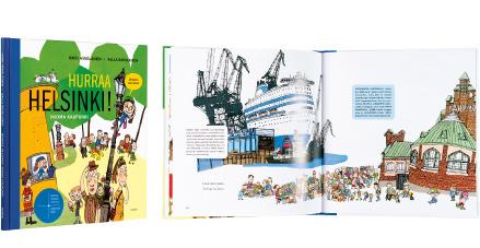 Ett omslag och en öppning av boken Hurraa Helsinki! Ikioma kaupunki.