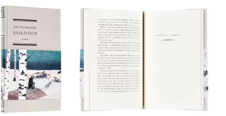 A cover and a spread of the book Nälkävuosi.