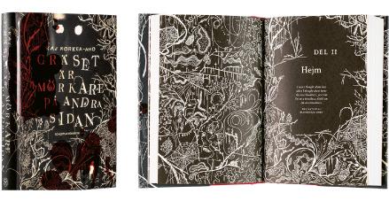 A cover and a spread of the book Gräset är mörkare på andra sidan.