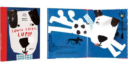 Ett omslag och en öppning av boken Lunta sataa, Lupo!.