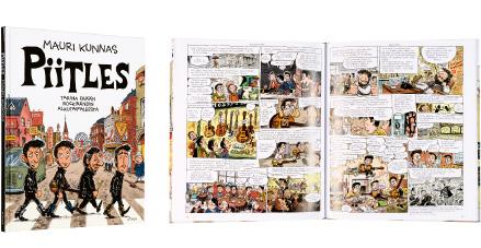 A cover and a spread of the book Piitles - Tarina erään rockbändin alkutaipaleesta.
