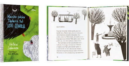 Ett omslag och en öppning av boken Kuinka pikku Täplästä tuli iso koira.