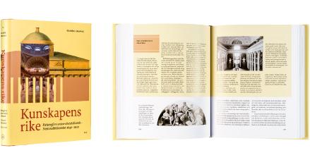 A cover and a spread of the book Kunskapens rike. Helsingfors universitetsbibliotek - Nationalbiblioteket 1640-2010<br /> Tiedon valtakunnassa. Helsingin yliopiston kirjasto - Kansalliskirjasto 1640-2010.