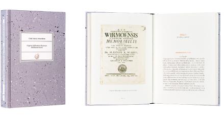 A cover and a spread of the book Territorium Wirmoënse. Gregorius Halleniuksen Mynämäen kihlakunnan kuvaus.