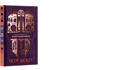 A cover and a spread of the book Kiduttajan varjo. Uuden auringon kirja 1.