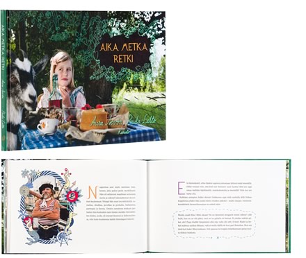 A cover and a spread of the book Aika metka retki.