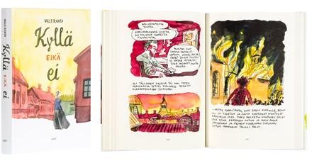 A cover and a spread of the book Kyllä eikä ei.