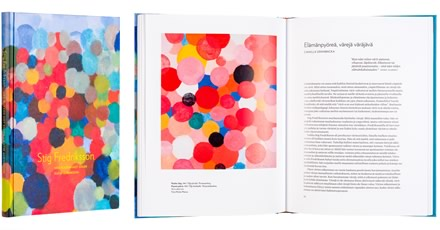 A cover and a spread of the book Stig Fredriksson: Med blicken mot solen - Katse aurinkoon.