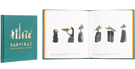 A cover and a spread of the book Sarvikas - Leo Karsikkaan taide.