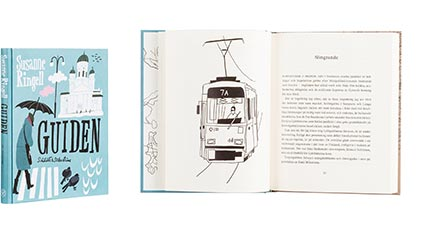 A cover and a spread of the book Guiden.