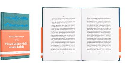A cover and a spread of the book Pienet kalat syövät suuria kaloja.