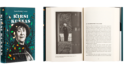 A cover and a spread of the book Kirsi Kunnas - sateessa ja tuulessa.