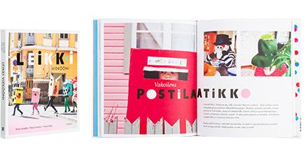 A cover and a spread of the book Leikki vieköön!.