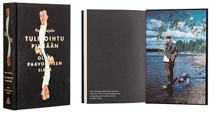 A cover and a spread of the book Tulisoihtu pimeään<br /> - Olavi Paavolaisen elämä.