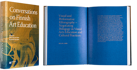 A cover and a spread of the book Conversations on Finnish Art Education.