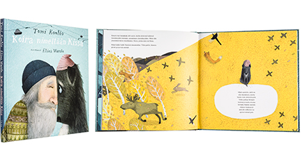A cover and a spread of the book Koira nimeltään kissa.