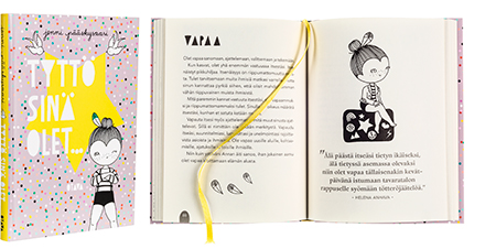 A cover and a spread of the book Tyttö sinä olet....