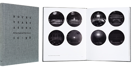 A cover and a spread of the book Hours, Years, Aeons: Moving Images and Other Projects 1998-2015.