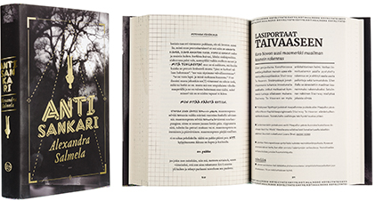 A cover and a spread of the book Antisankari.
