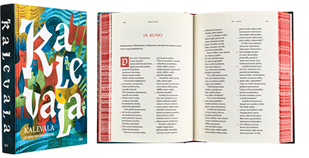 A cover and a spread of the book Kalevala ja opas sen lukemiseen.