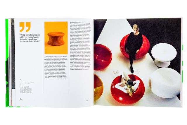A cover and a spread of the book Eero Aarnio - Värin ja ilon muotoilija.